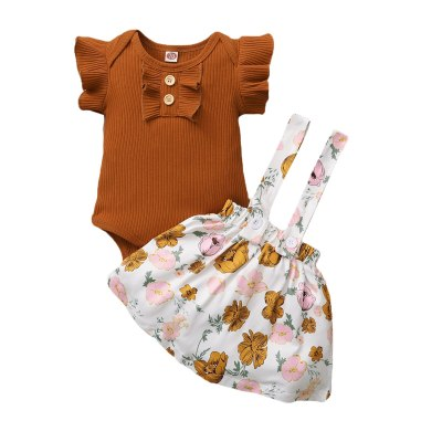 Newborn Baby Girl Solid Ruffled Romper Bodysuit+Floral Print Suspender Skirt Set
