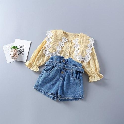 2021 new autumn fashion plaid pink yellow shirt + denim pant kid children clothes