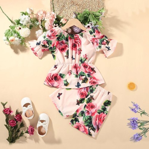2021 Summer Pullover Shorts Two Piece Flower Children's Suit
