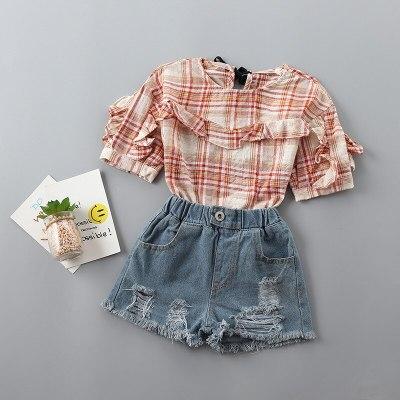 2021 new summer casual plaid solid kid children girl clothing shirt+denim pant 2pcs