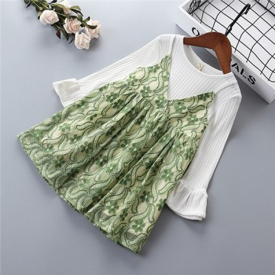 2021 spring new fashion lace mesh cotton flower kid children girl clothing princess dress