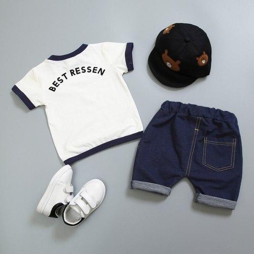 Summer Children Boys Girls Clothes Sets Kids Cotton Letter Short Sleeves T-Shirt 2PCS set