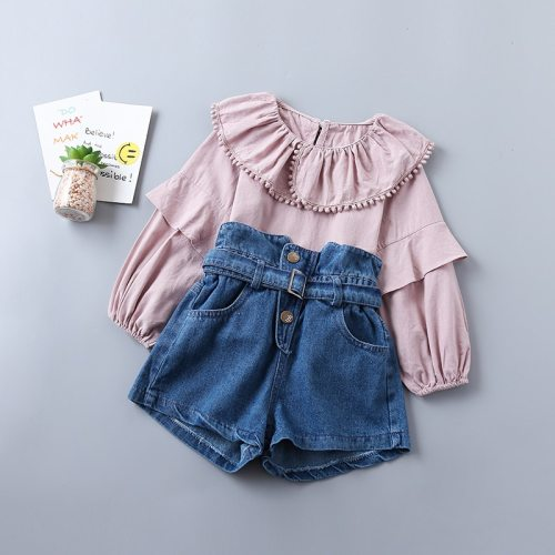 20201 new spring fashion tiered ruched solid shirt + denim pant kid children clothing