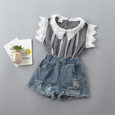 2021 new summer casual Dot bow kid children girl clothing shirt+demin pant 2pcs
