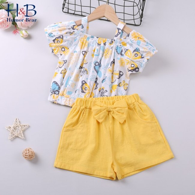 Girls Clothing Set Short Sleeve  Summer New Floral Printed Top T-shirt+ Bow Short 2Pcs Suit