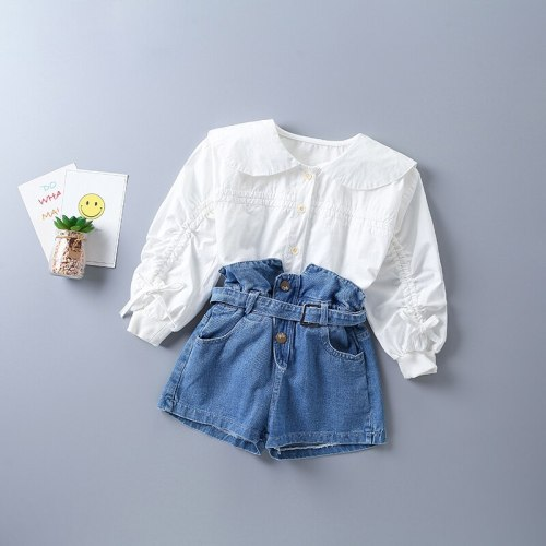 2021 new autumn fashion orange white shirt + denim pant kid children clothing