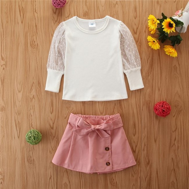 20201 Summer Fashion Girl Two Piece Suit Long Sleeve Pullover Top and Solid Color Short Summer Outfit Set