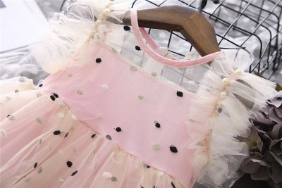 Children's Dress Summer New Girl Sweet Embroidery Polka Dot Flying Sleeve Vest Princess Dress Mesh Patchwork Party Girl Dress