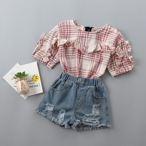 2021 new summer casual plaid solid kid children girl clothing shirt+denim pant 2pcs