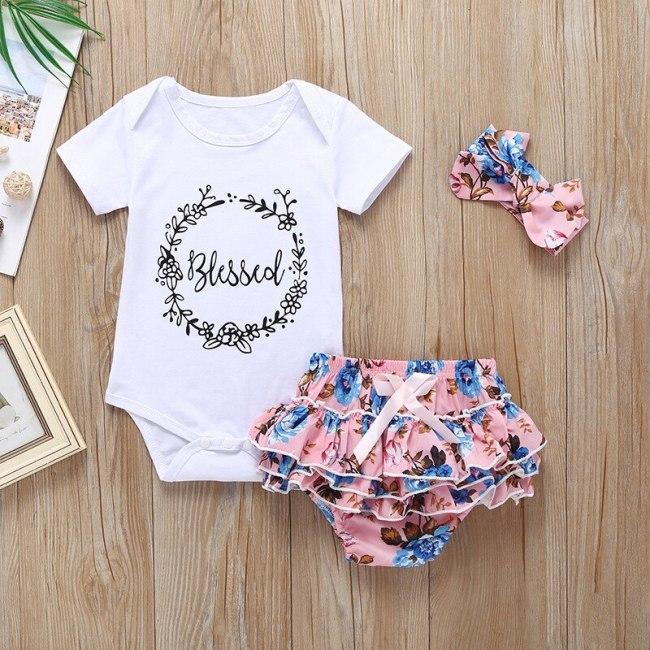 Summer Newborn Baby Girl Clothes Set Solid Color Short Sleeve Romper Flower Short Pants Headband 3Pcs Infant Outfits