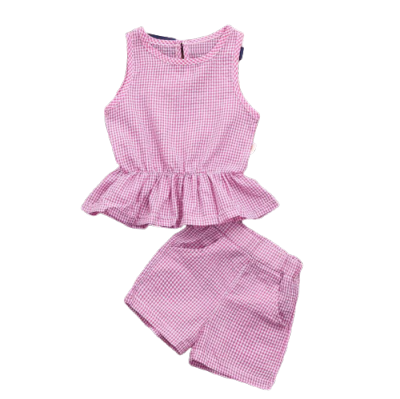 2pcs Toddler Girl Outfits Fashion Summer Pink Sleeveless Tops&Shorts Set For Kids Children Baby Girls Clothes