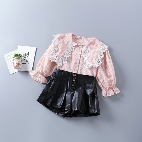 2021 new autumn fashion plaid pink yellow shirt + leather pant kid children clothes