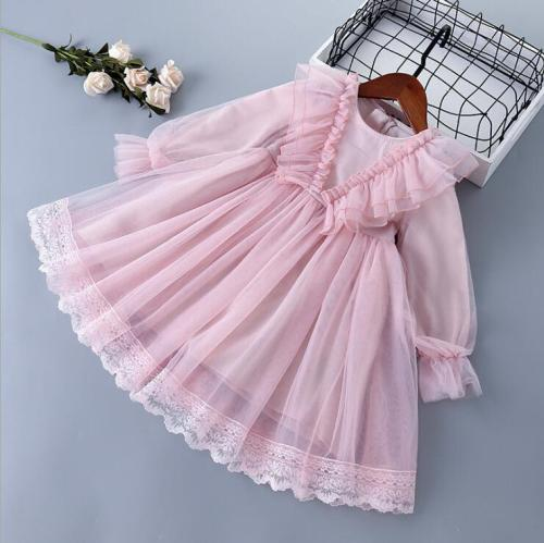 2021 new  girls ruffles  dress  fashion spring  girls  princess dresses