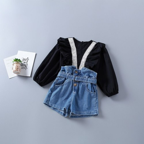 2021 new autumn fashion tiered ruched short shirt + denim pant kid children clothes