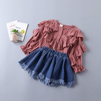 2021 new spring fashion tiered ruched solid shirt + denim skirt kid children clothing