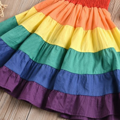 Rainbow Striped Print Girl Dresses Baby Kids Girls sleeveless Patchwork Party Cake Dress