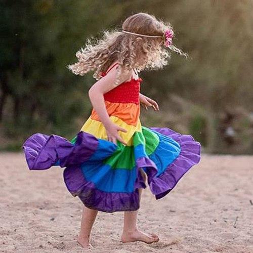 Rainbow Striped Print Girl Dresses Baby Kids Girls sleeveless Patchwork Party Cake Dress