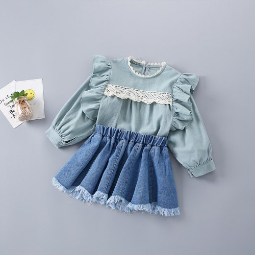 2021 New Fashion Casual Lace Shirt + Denim Skirt Kid Children Girls Clothing