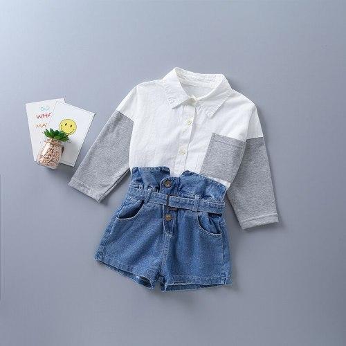 2021 new autumn fashion black white plaid shirt + short denim pant kid children clothing