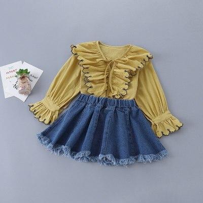 2021 Spring New Model Girls'  Fashion Embroidered Black Shirt + Denim Skirt Children's Suit Clothing