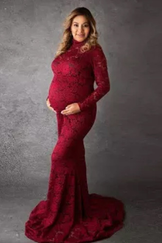 Baby Shower Lace Maternity Dresses For Photo Shoot Long  Women Gown Photography Prop