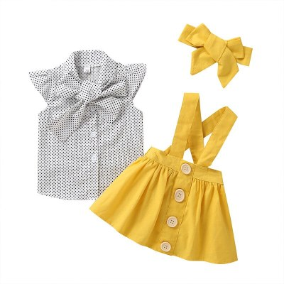 Fashion 3Pcs Set Toddler Girls Clthes Fly Sleeve Bloust Shirt Tops Overall Skirts Headband Outfits Princess Clothes Sets