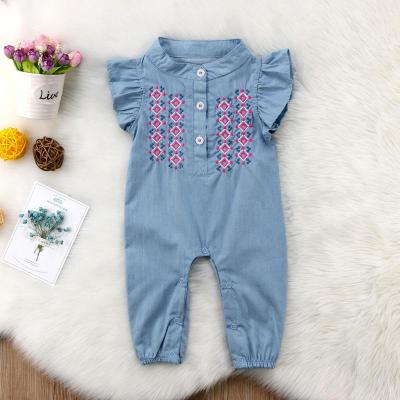 Cute baby girls denim romper Infant Newborn Baby Girl embroidery Playsuit Jumpsuit Body suit summer baby girl Clothing