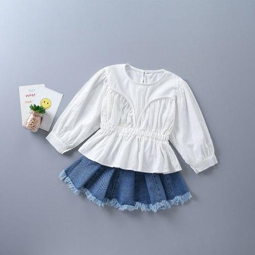 2021 new autumn casual tiered ruched solid shirt + short denim skirt kid children clot