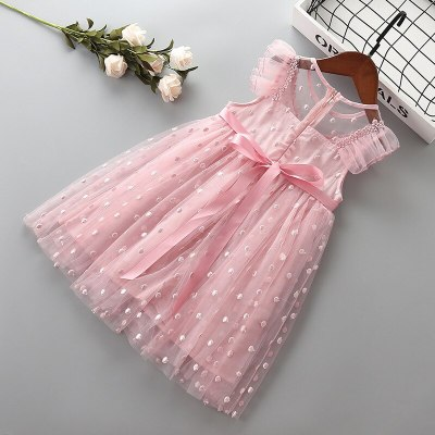 2021 new summer fashion bow flower kid children girl clothing party formal princess dress