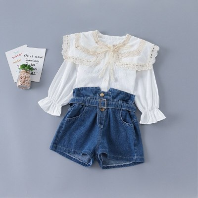 Baby Girl Clothing Set Spring Lace Bow Collar Tops Blouse+denim Shorts,kids Girls Princess Wear Children Elegant Suits Clothes
