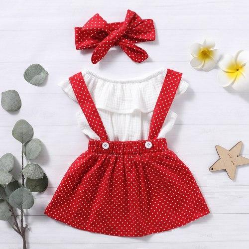 Toddler Baby Girls Ruffles Tops Polka Dot Suspender Skirts Headbands Outfits 3PCS Set Summer Infant Baby Kids Girl Clothes Set