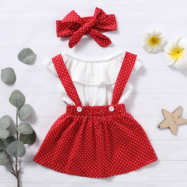 Toddler Baby Girls Ruffles Tops Polka Dot Suspender Skirts Headbands Outfits 3PCS Set Summer Infant Baby Kids Girl Clothes Set