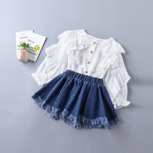 2021 new spring fashion tiered ruched solid shirt + denim skirt kid children clothing