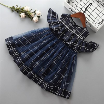 2021 new summer casual stripe ruched kid children girl clothing party formal princess dress