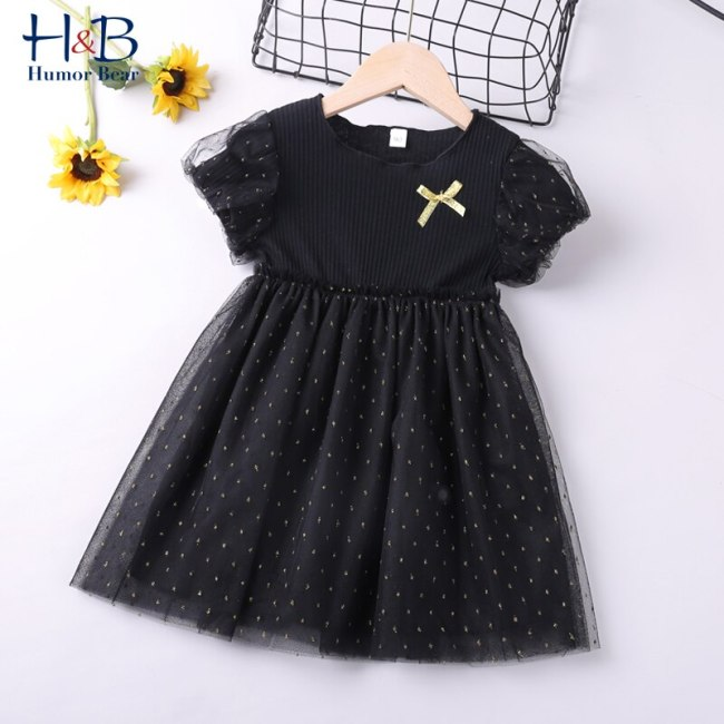 Girls Dress Puff-Sleeve New Summer Patchwork Mesh Printed Sweet Shining Princess Party Dress Toddler Kids  Clothes