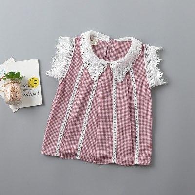 2021 new summer casual Dot bow kid children girl clothing shirt+denim pant 2pcs