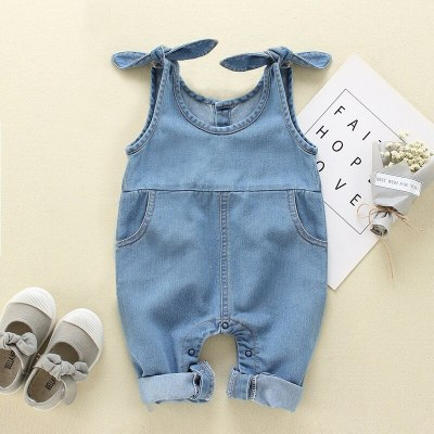 Newborn Baby Boy Baby Girl Clothes Sleeveless Solid Color Denim Romper Jumpsuit Outfit Set Overall
