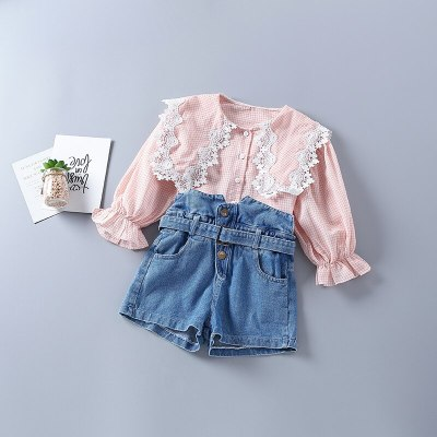 2021 new autumn fashion plaid pink yellow shirt + denim pant kid children clothes