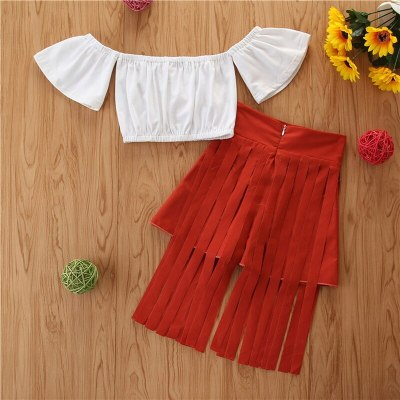 2021 Spring Summer New Super Cool Fashion Little Girls One Shoulder 2-Piece Suit Flared Short Sleeve Top And Fringed skirt