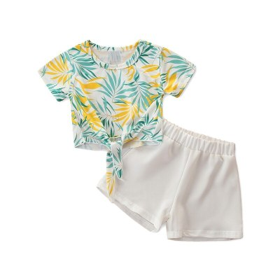 2021 New Girls Clothes Summer Set Flower Top + Sport Pants 2Pcs Clothing Suit Casual Baby Outfits for Kids Girls Suit Clothes