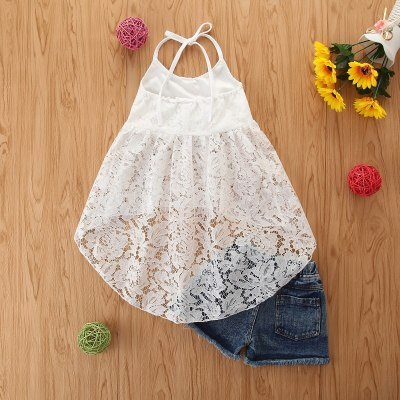 2021 Fashion Summer Kids Lace Clothes Set Neck Strap Tie Up Backless Dress Tops+Elastic Waist Short Jeans 2PCS Girls Outfits