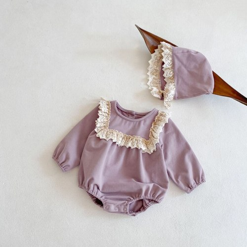 2021 Spring Baby Clothes Ruffle Todder Girl One Piece Infant Bodysuit With Hat