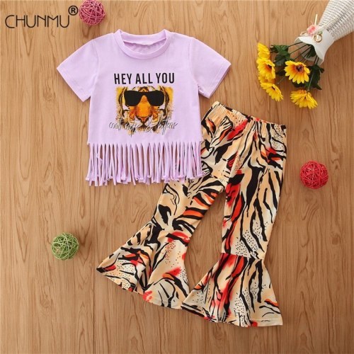 Baby Girls Summer Clothing Set Baby Girl Leopard Tassel Toddler T-shirt and Flared Trousers 2pcs Casual Sport Outfits Set