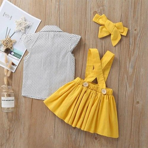 Infant Baby Girls Dress Sleeveless Dot Print Tops T Shirt Strap Skirt Outfits Set Summer Dress