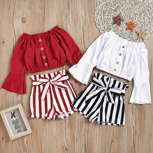 Girls Ruffle Off Shoulder Buttons Solid T Shirt Tops Bow Striped Shorts Outfits Baby Girls Fashion Sets
