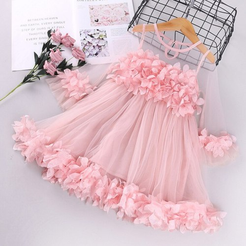 Girls Dress Cute Pink Ball Gown Dress Long Sleeve Tulle Petal Dress for Girls Party Princess Dress for Baby Girls Summer Clothes