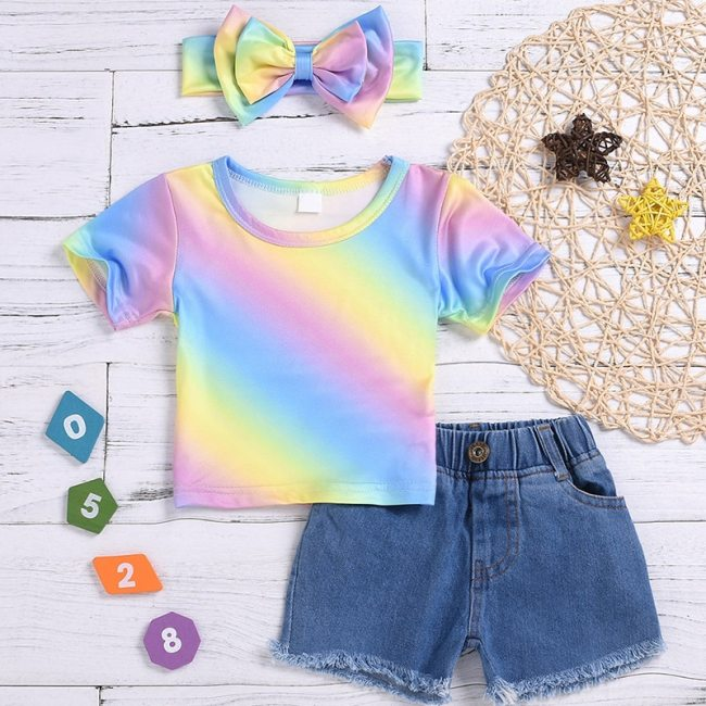Baby Girls clothes Multicolor print Short Sleeve round neck Tops pocket Button Shorts Bow Headband 3pc Kids Outfit