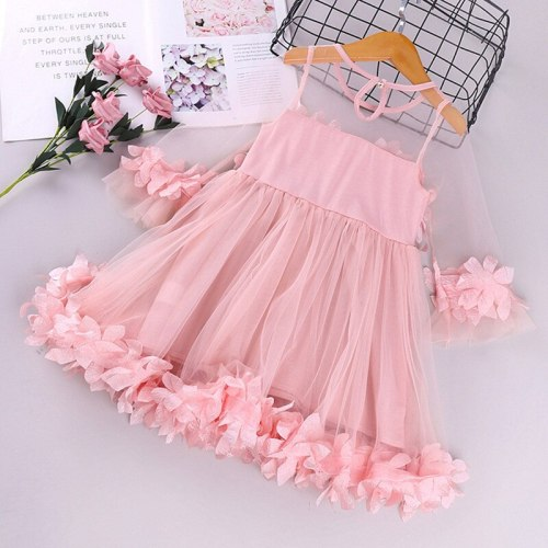 Toddler Girls Dress 3D Floral Princess Dress Elegant Lace Tutu Kids Wedding Party Dresses Children Clothing For Baby Girls