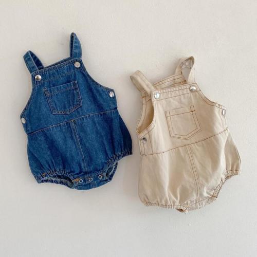 2021 New Spring Baby Boys Girls Clothing Sleeveless Baby Denim Bodysuits Kids Jumpsuit Summer Baby Denim Overalls