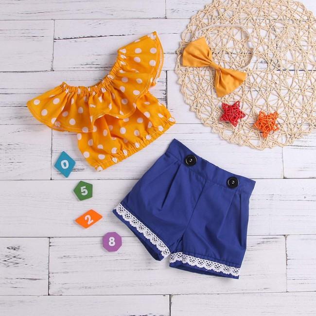 Baby Girls Tops+Shorts+Headwear Suit Polka Dot Print Bowknot Clothing Set